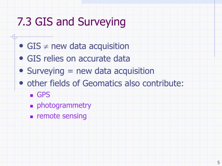 7.3 GIS and Surveying