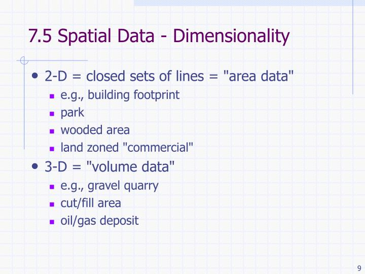 7.5 Spatial Data - Dimensionality