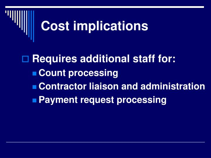 Cost implications