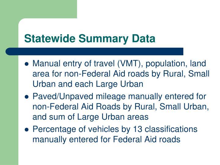 Statewide Summary Data