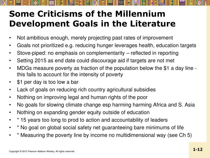 Some Criticisms of the Millennium Development Goals in the Literature