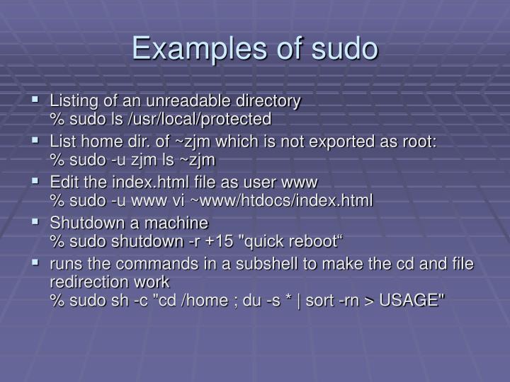 Examples of sudo