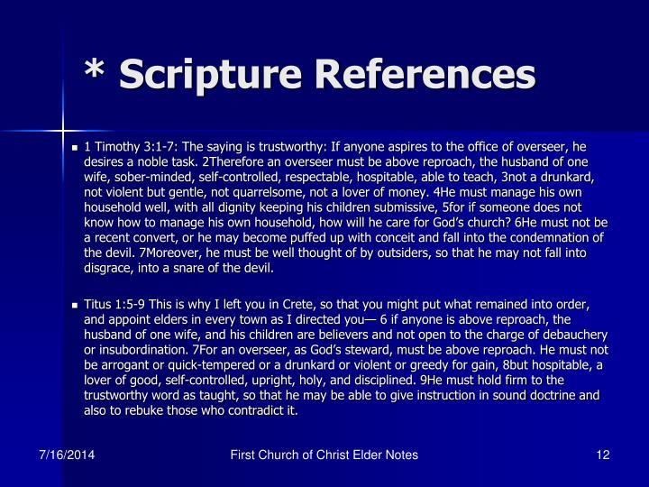 * Scripture References