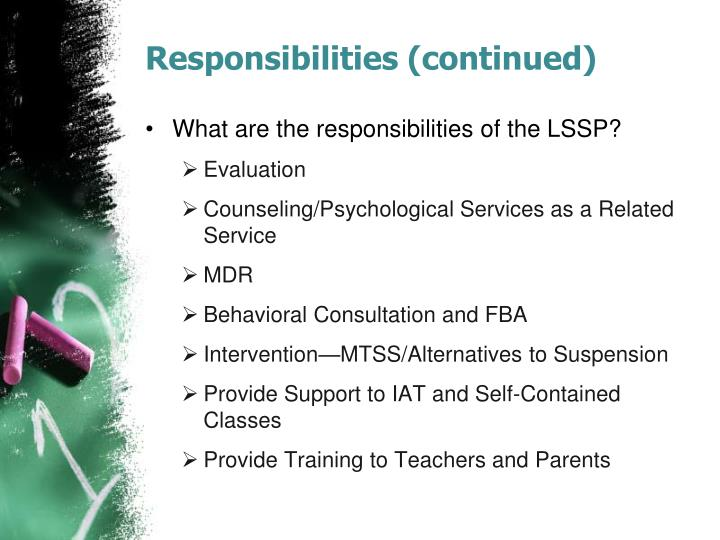 Responsibilities (continued)