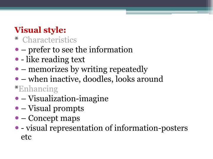 Visual style: