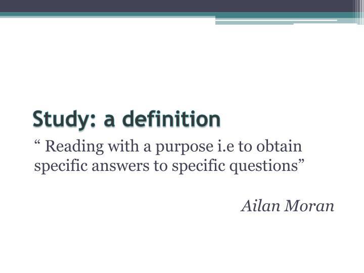 Study: a definition