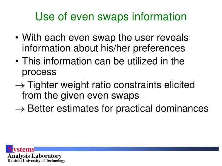 Use of even swaps information