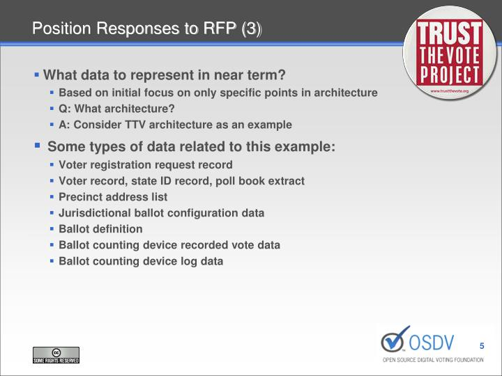 Position Responses to RFP (3)