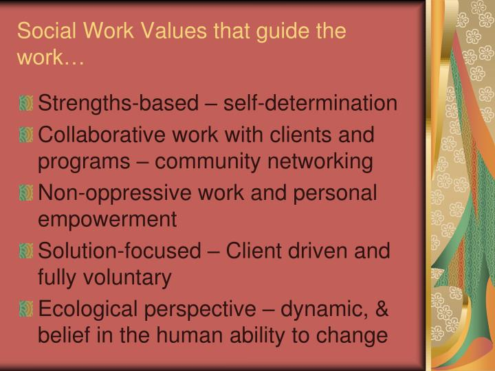 Social Work Values that guide the work…