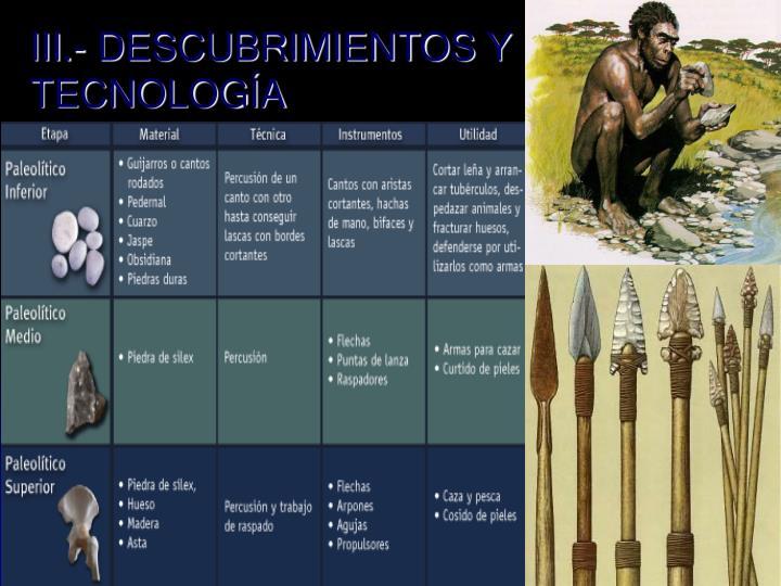 III.- DESCUBRIMIENTOS Y TECNOLOGÍA