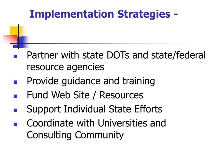 Implementation Strategies -