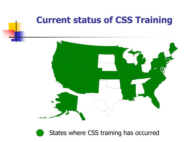 Current status of CSS Training
