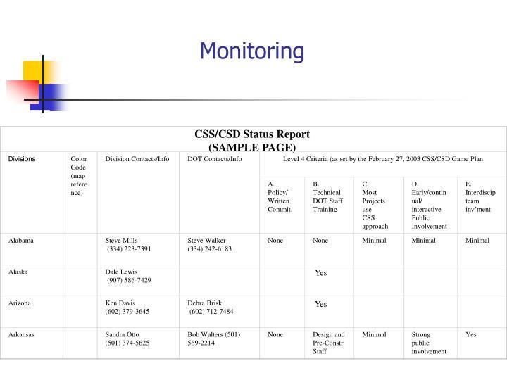 CSS/CSD Status Report