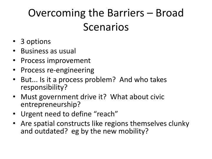 Overcoming the Barriers – Broad Scenarios
