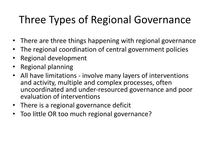Three Types of Regional Governance