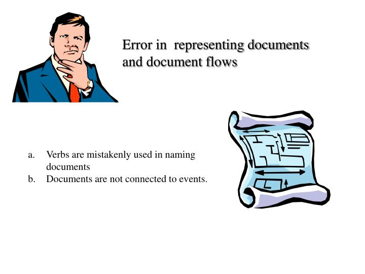 Error in  representing documents and document flows