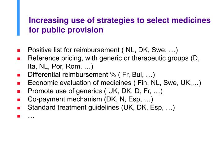 Increasing use of strategies to select medicines for public provision