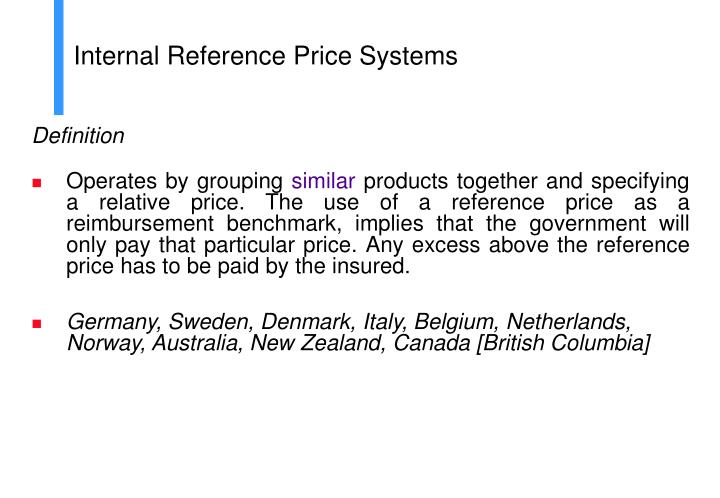 Internal Reference Price Systems