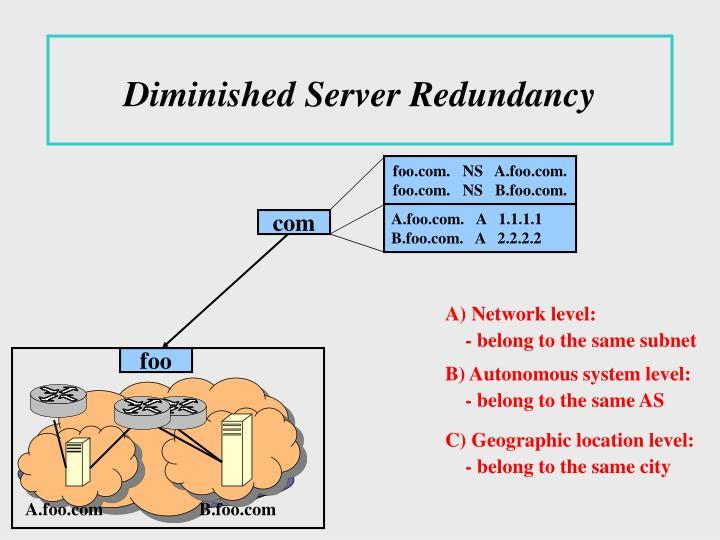 Diminished Server Redundancy