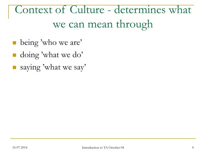 Context of Culture - determines what we can mean through