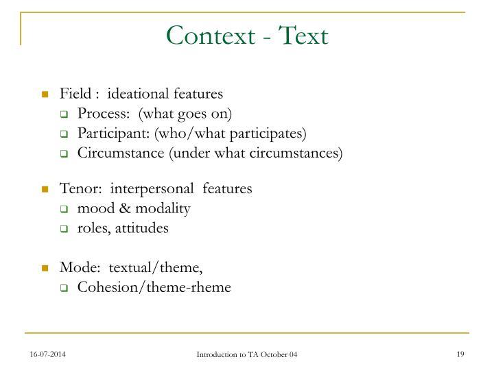 Context - Text