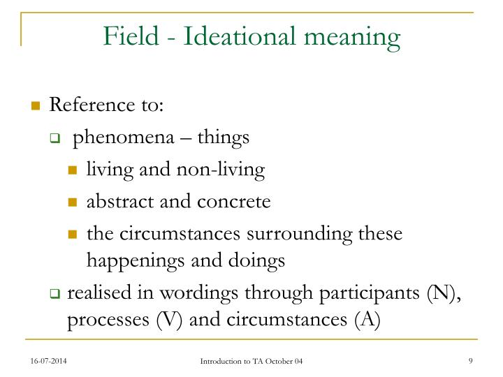 Field - Ideational meaning