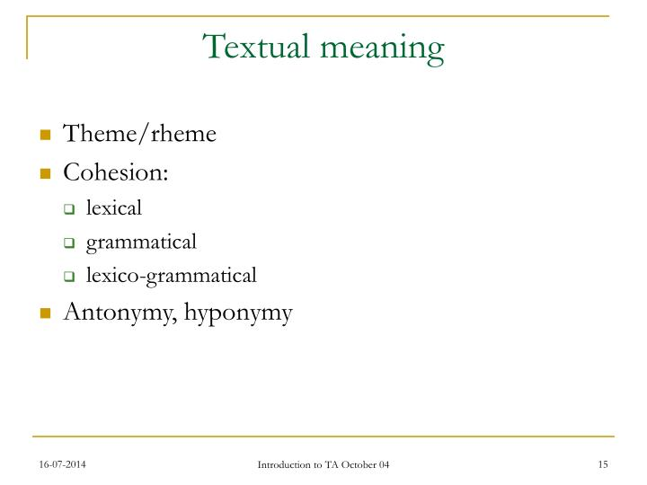 Textual meaning
