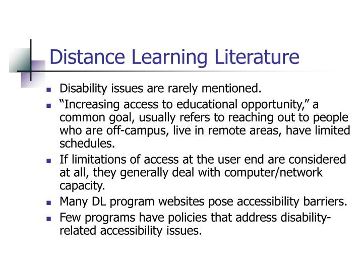 Distance Learning Literature