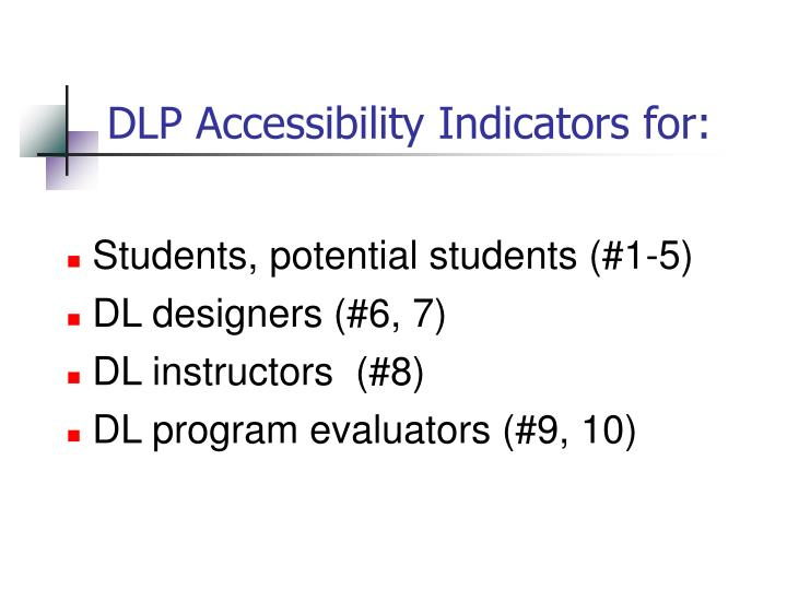 DLP Accessibility Indicators for: