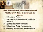 core curriculum with embedded fieldwork 5 of 9 courses to date