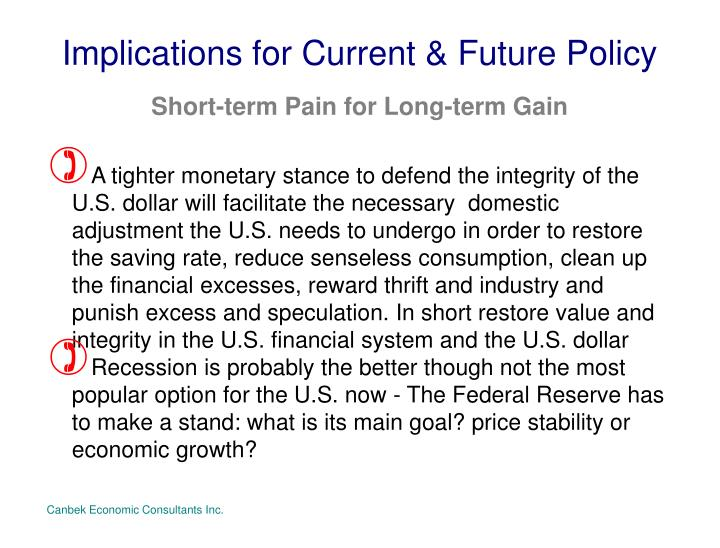 Implications for Current & Future Policy
