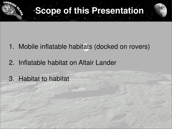 Scope of this Presentation