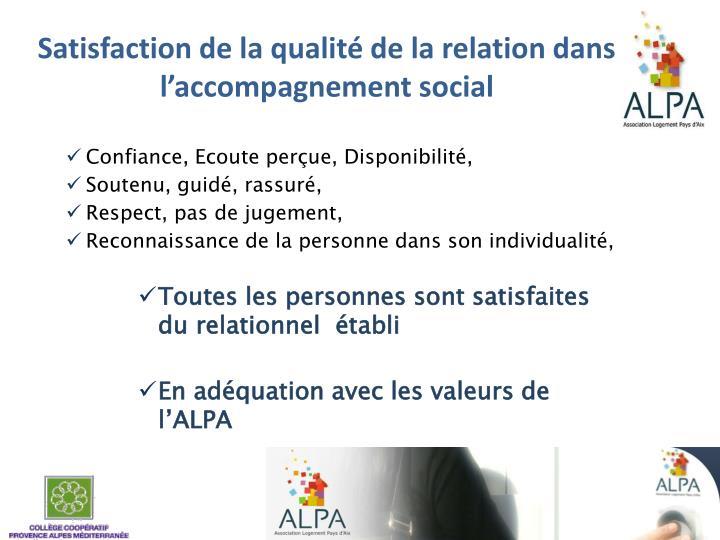 Satisfaction de la qualité de la relation dans l'accompagnement social