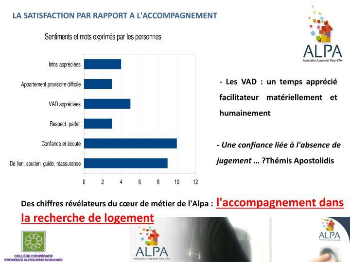 LA SATISFACTION PAR RAPPORT A L'ACCOMPAGNEMENT