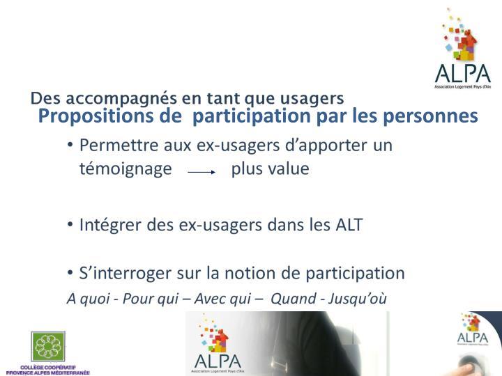 Propositions de  participation par les personnes