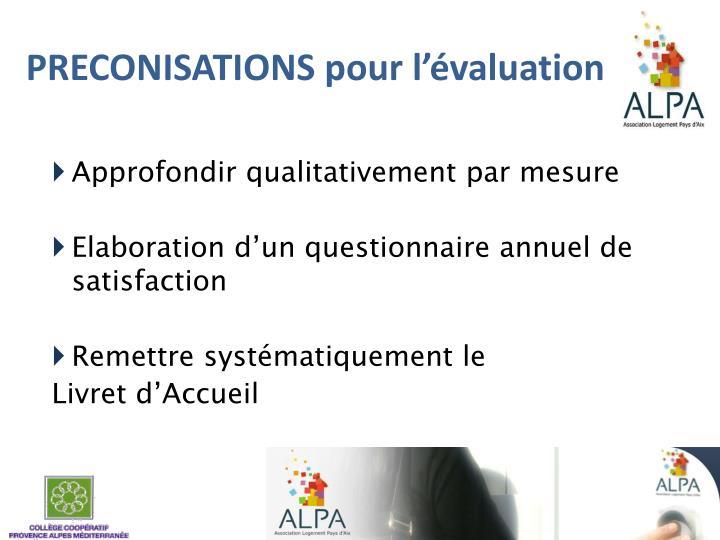 PRECONISATIONS pour l'évaluation