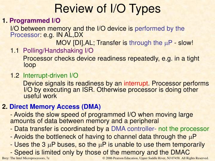 Review of I/O Types