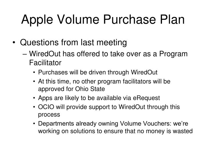 Apple volume purchase plan