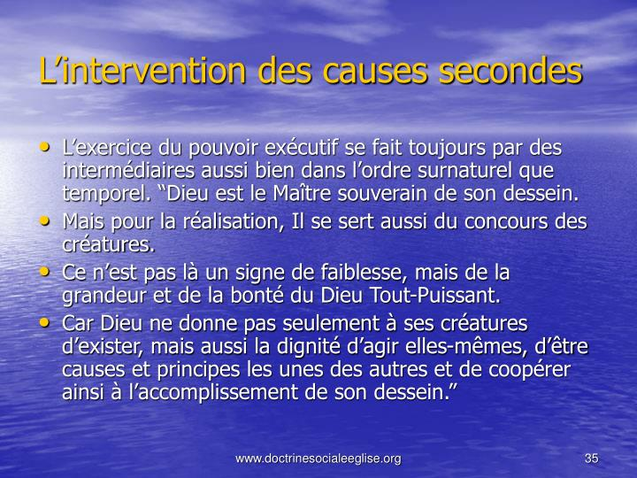 L'intervention des causes secondes