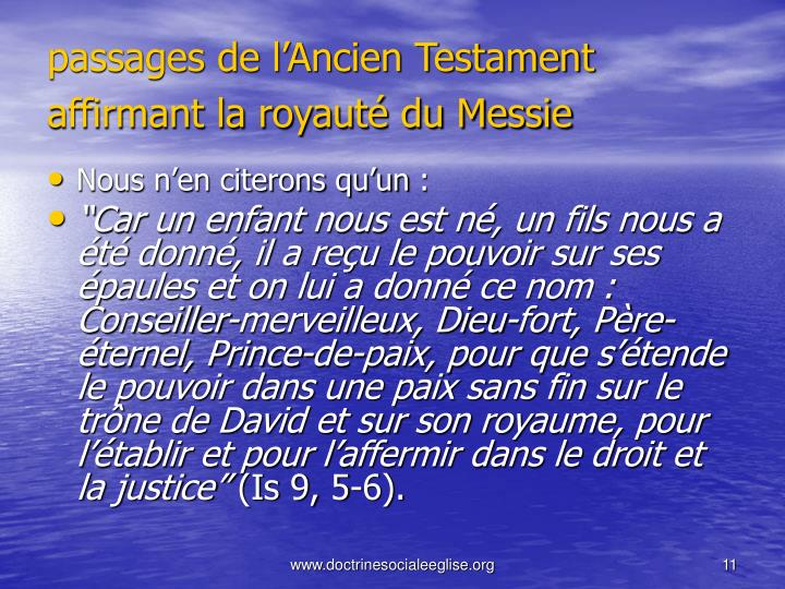 passages de l'Ancien Testament affirmant la royauté du Messie