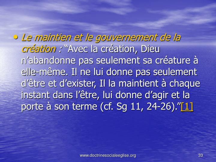 Le maintien et le gouvernement de la création