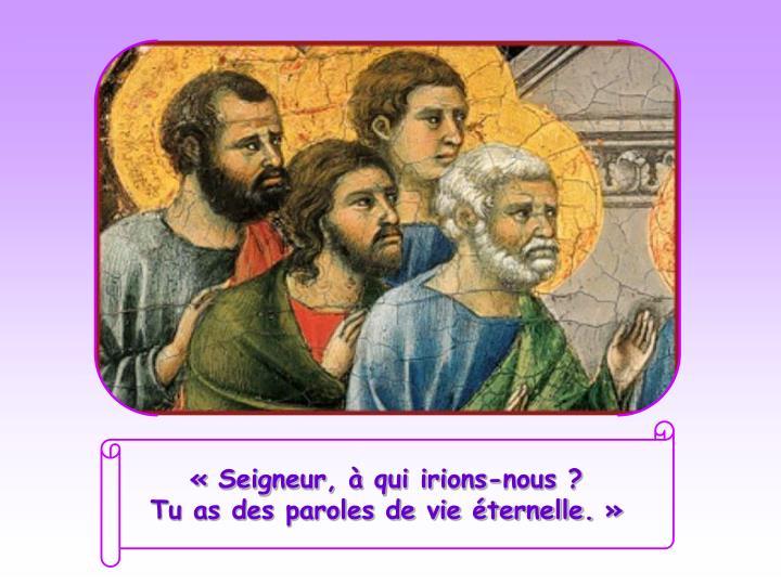 «Seigneur, à qui irions-nous?