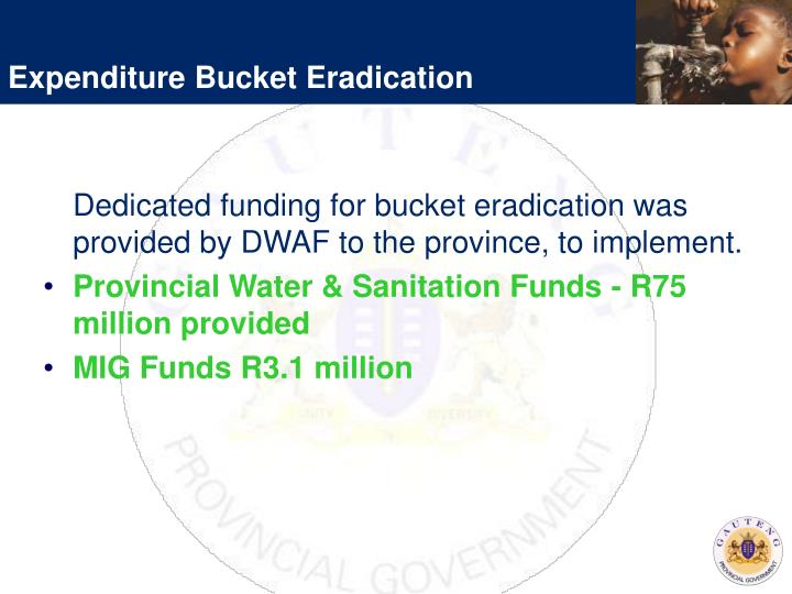 Expenditure Bucket Eradication