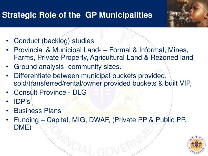 Strategic Role of the  GP Municipalities