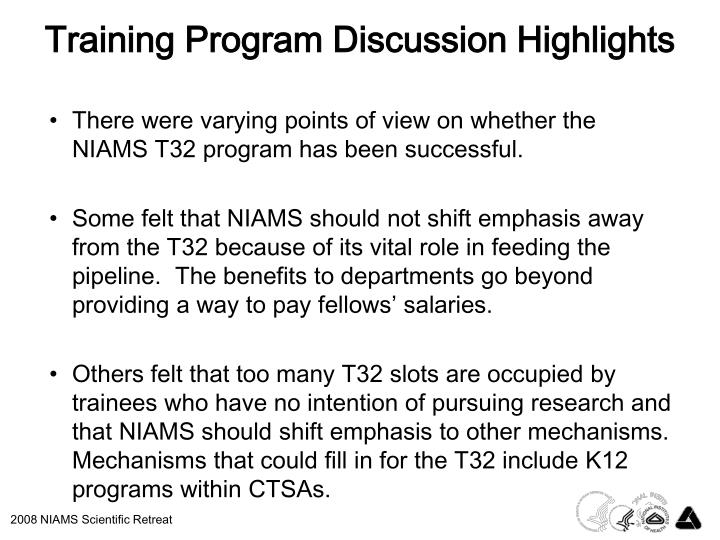 Training Program Discussion Highlights