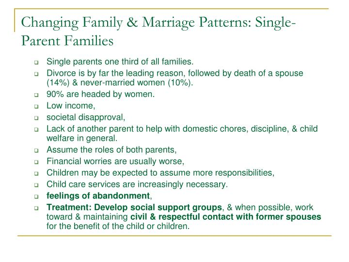 Changing Family & Marriage Patterns: Single-Parent Families