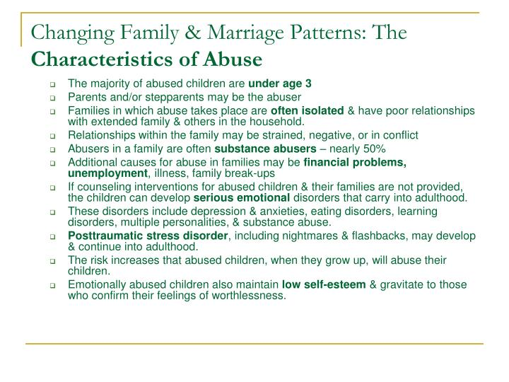 Changing Family & Marriage Patterns: The