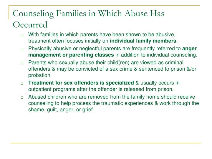 Counseling Families in Which Abuse Has Occurred