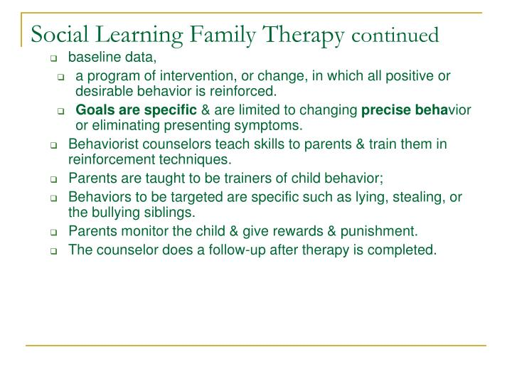 Social Learning Family Therapy