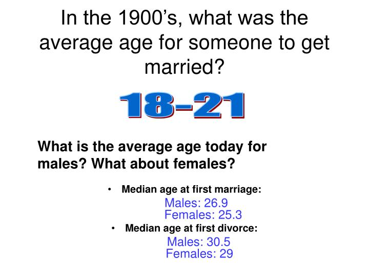 In the 1900's, what was the average age for someone to get married?